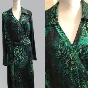 Green snake skin pattern wrap maxi dress